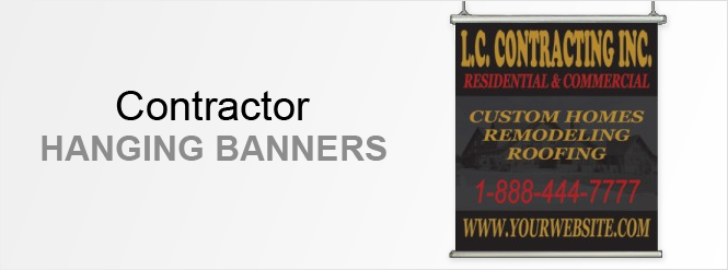 Image: Contractor hanging banners